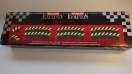 Carrera ExclusiV/Evo./Digi  set buitenslipstroken t.b.v. kuipbocht 3/30  Nr. 20566. Zwart/geel