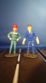 1 blauwe monteur en 1 metallic blauwe coureur