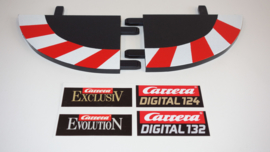 Carrera ExclusiV/Evolution/Digital  slipstrook eindstukken-set rood/wit nr. 20598