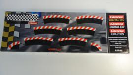 Carrera Excl./Evo./Digi  set buiten-slipstroken  rood/wit t.b.v. bocht 2/30.   Nr. 20562 in OVP