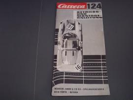 Zwart/wit handleiding Carrera 124 met uitvouwblad.   Duits
