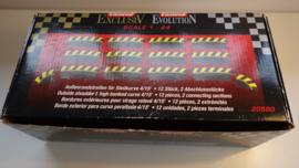 Carrera ExclusiV/Evo./Digi  set buitenslipstroken t.b.v. kuipbocht 4/15.   Nr. 20580. Zwart/geel