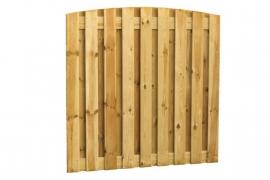 Schuttingscherm grenen verticaal 21 planks met toog