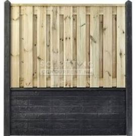 Totaalpakket optie 3 - Grenen Hout- zwart/antraciet rotsmotief betonschutting luxe (2 opgestapelde onderplaten + laag scherm)