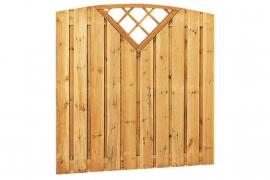 Schuttingscherm grenen verticaal 21 planks toog met driehoekraster