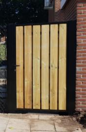 Stalen enkele draai poort - met hout vulling