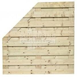 Schuttingscherm grenen horizontaal 21 planks schuine hoek (verloopscherm)