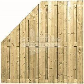 Schuttingscherm grenen verticaal 21 planks schuine hoek (verloopscherm)