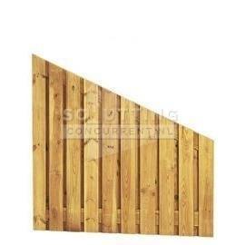 Schuttingscherm grenen verticaal 21 planks XL schuine hoek