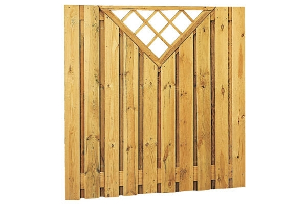 Schuttingscherm grenen verticaal 21 planks met driehoekraster