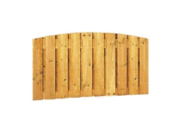 Schuttingscherm grenen verticaal 21 planks laag met toog