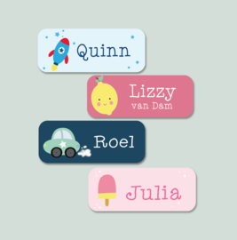 Naamstickers kind met pinguin type Loa
