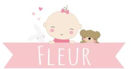 Geboortesticker baby met naam meisje full colour type Fleur