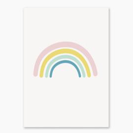 Poster met een regenboog roze- poster babykamer of kinderkamer