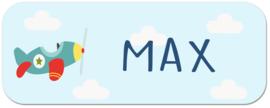 Naamstickers kind met vliegtuig  type Max