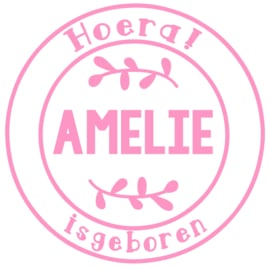 Geboortesticker in stempel vorm type Amelie