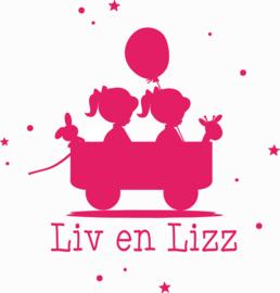 Geboortesticker tweeling type Liv en Lizz
