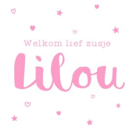 "Geboortesticker ""welkom lief zusje"" hartjes en sterretjes type Lilou"