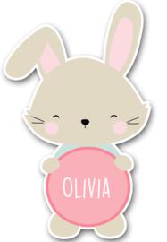 Naamstickers in vorm met een lief konijntje