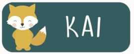 Naamstickers met een leuke vos type Kai