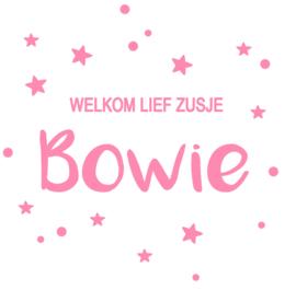 Geboortesticker met stippen en sterretjes type Bowie