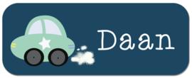 Naamstickers met stoere auto type Daan
