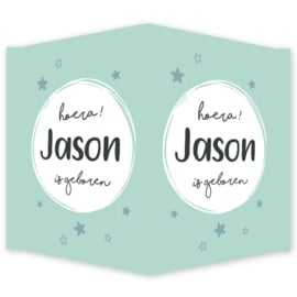 Geboortebord - Geboortebord met een cirkel en sterretjes type Jason