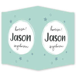 Geboortebord - Geboortebord raam met een cirkel en sterretjes type Jason
