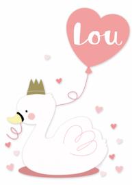 Geboortesticker lieve zwaan full colour meisje type Lou