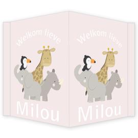Geboortebord - Geboortebord raam met leuke jungle dieren type Milou