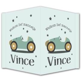 Geboortebord jongen - Geboortebord raam met een stoere auto en sterretjes type Vince.