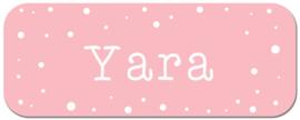 Naamstickers kind roze met witte confetti stippen