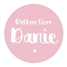 Geboortesticker oud roze type Danie