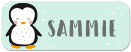 Naamstickers kind met pinquin type Sammie