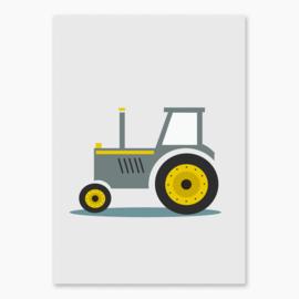Poster met een leuke tractor - poster babykamer of kinderkamer