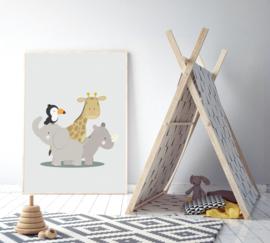 Poster met jungle dieren jongen - poster babykamer of kinderkamer
