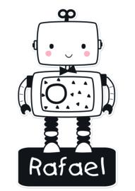 Naamstickers in vorm leuke robot type Rafael