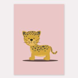 Poster met jaguar oudroze - poster babykamer of kinderkamer