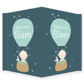 Geboortebord - Geboortebord  met baby in luchtballon type Siem