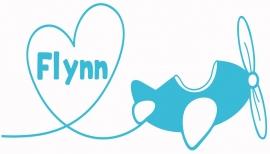 Geboortesticker met vliegtuig type Flynn