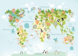 Poster kinderkamer wereldkaart met dieren  - poster babykamer of kinderkamer