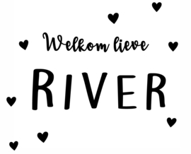 Geboortesticker met leuke hartjes type River