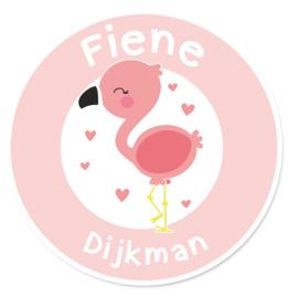 Naamstickers rond met een leuke flamingo