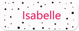 Naamstickers kind met zwarte confetti stipjes type Isabelle
