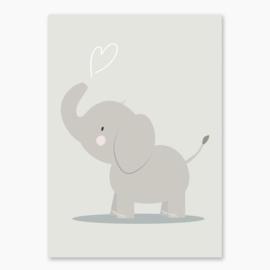 Poster met een olifant- poster babykamer of kinderkamer