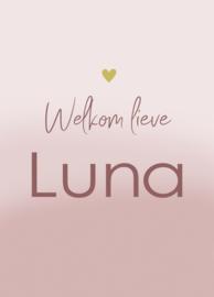 Geboortebord - Geboortebord voor een meisje verf look oud roze type Luna