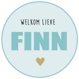 Geboortesticker full  colour met hartje type Finn