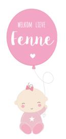 "Geboortesticker baby full colour met ballon en de tekst ""welkom lieve"" type Fenne"