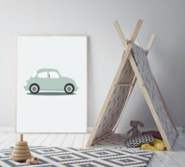 Poster mint met een volkswagen auto - poster babykamer of kinderkamer