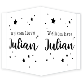 Geboortebord - Geboortebord raam sterretjes en stipjes type Julian